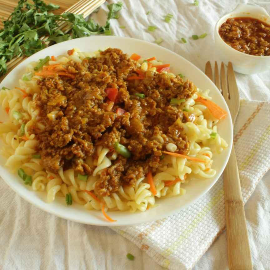 How to make Fusilli pasta in Vegan Soya Granules Sauce