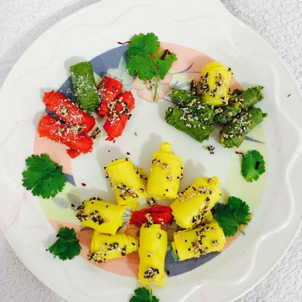 Photo of colorful khandvi by Neha Nikul Raval at BetterButter