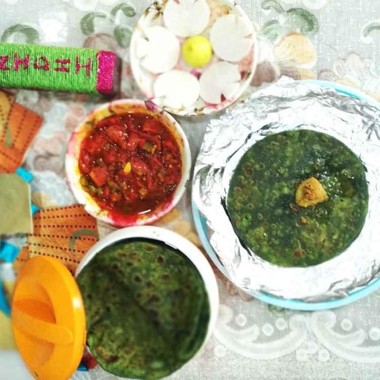 Photo of Bathua Aloo parantha with tomato chutni by Nidhi Joshi at BetterButter