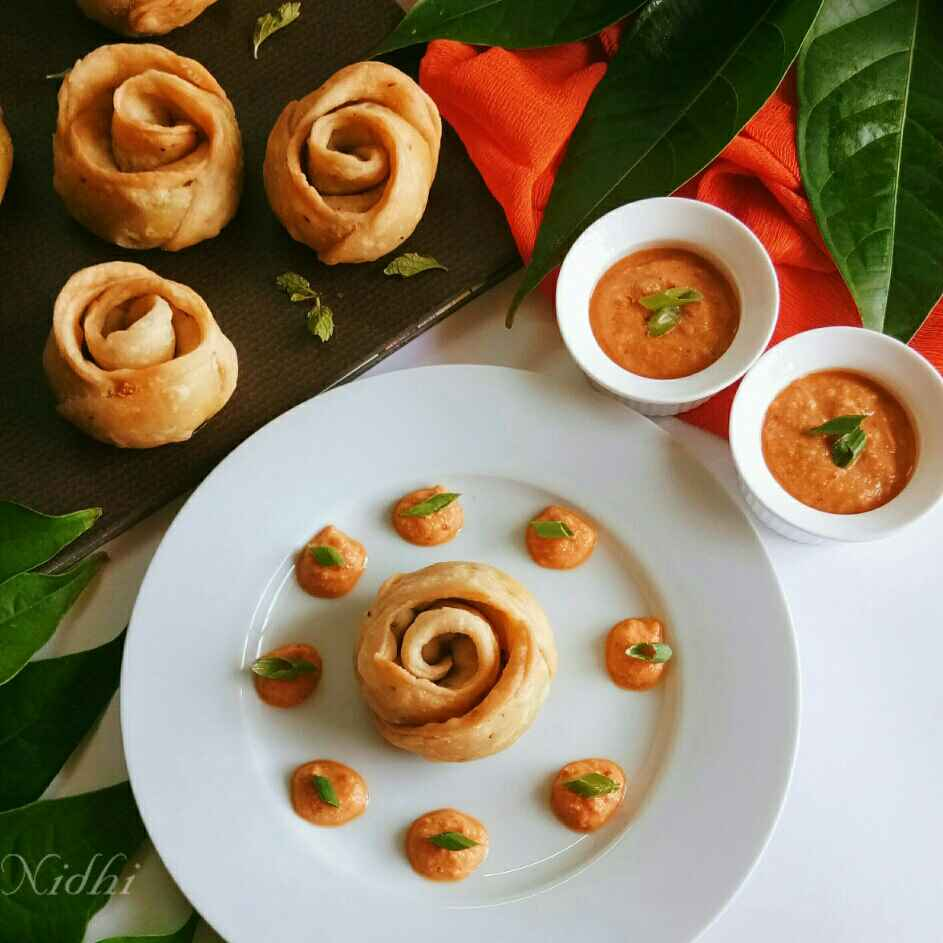 Photo of Podi masala rose puff by Nidhi Seth at BetterButter