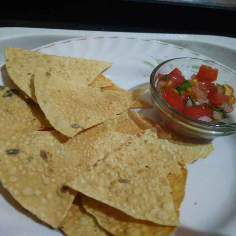 Photo of Papad nachos with salsa by Nikita Kesharwani at BetterButter