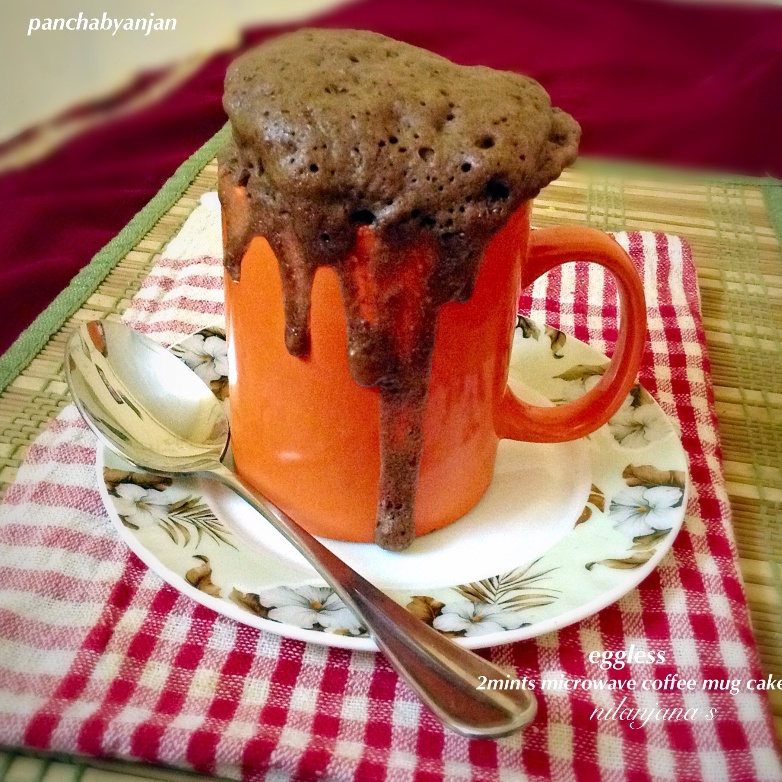 How to make Eggless 2 Minute Microwave Coffee Mug Chocolate Cake