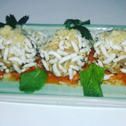 Photo of Puffed Rice Ball with creamy tomato sauce by Nilanjana Bhattacharjee Mitra at BetterButter