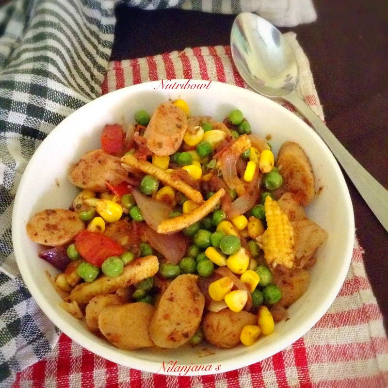 How to make Nutribowl - stir fried chicken sausage with veges