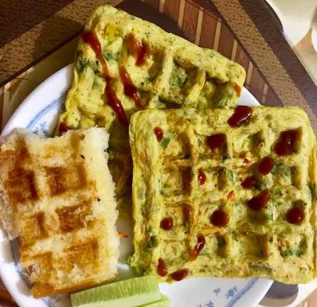 Photo of mix veg waffle omlette by Nilanjana Bhaumik at BetterButter