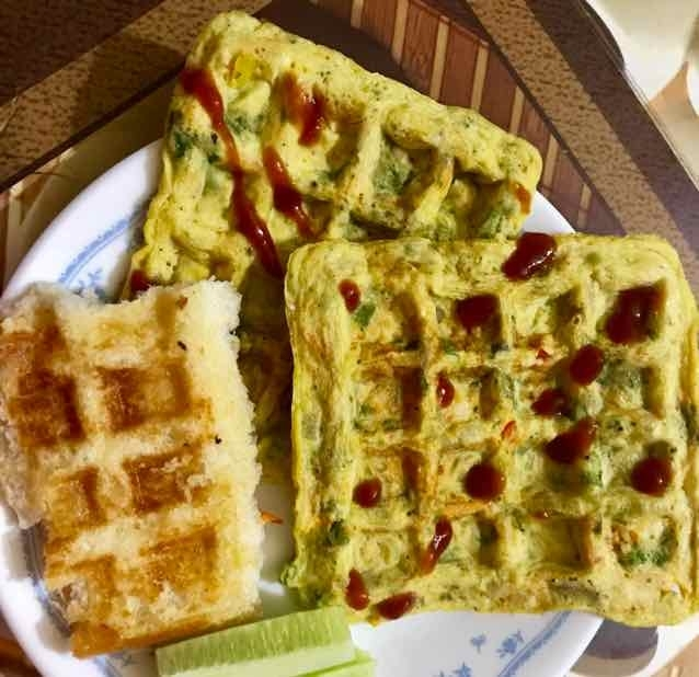 How to make mix veg waffle omlette