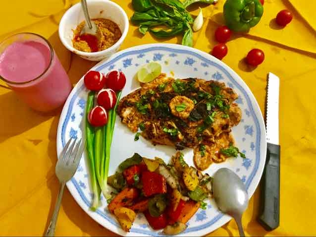 How to make Grilled capsicum pesto chicken