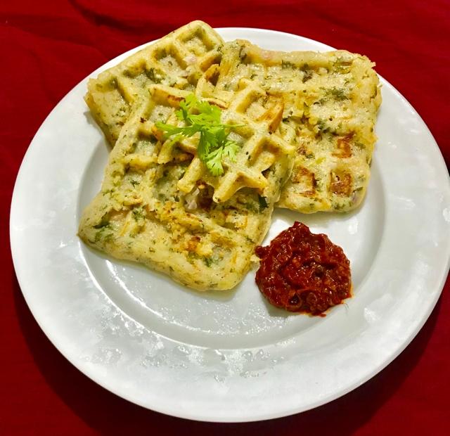 Photo of rava waffle uttapam by Nilanjana Bhaumik at BetterButter