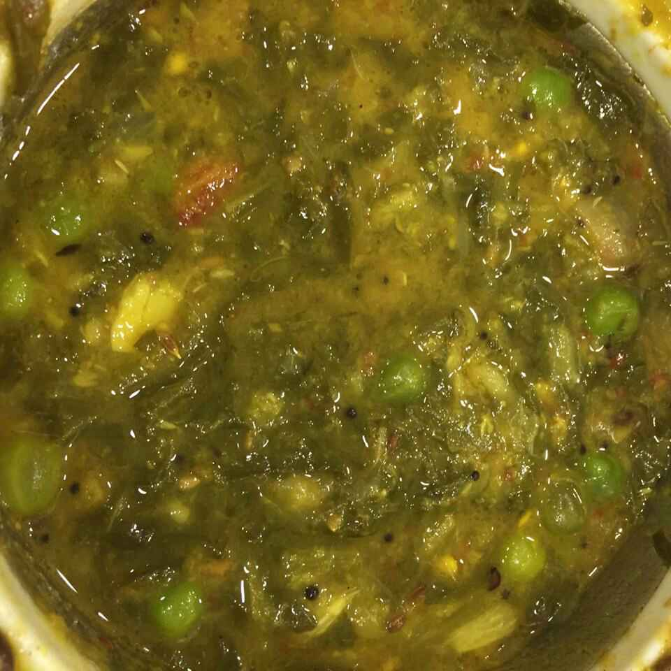 Photo of Palak moondhal peas grevy by nilopher meeralavai at BetterButter