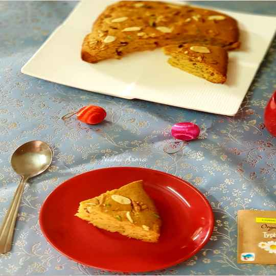 How to make दूध मावा केसर से बना गेहूं के आटे का केक