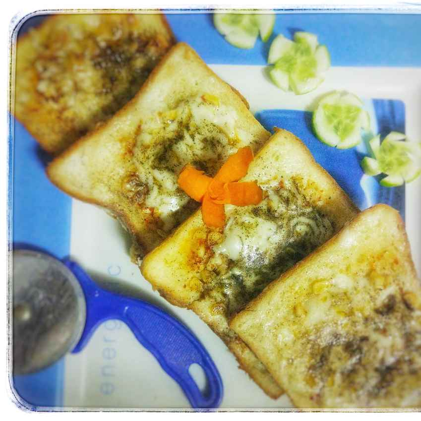 How to make Cheese garlic open sandwich