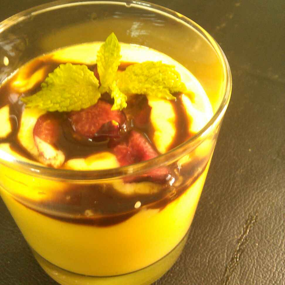 How to make Mango Smoothie Topped with Chocolate syrup and Fresh Cherry