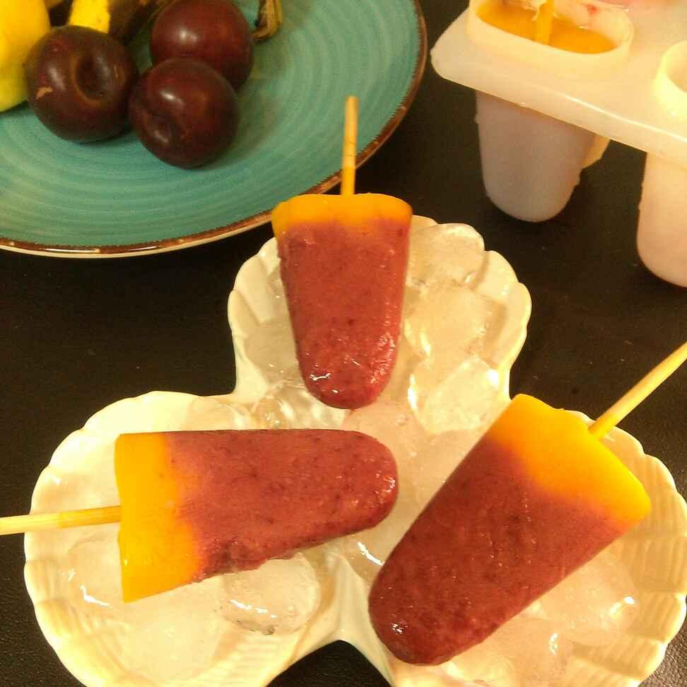 How to make Plum Mango Popsicles