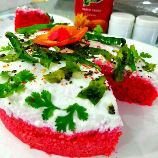 How to make Red velvet dhokla cake
