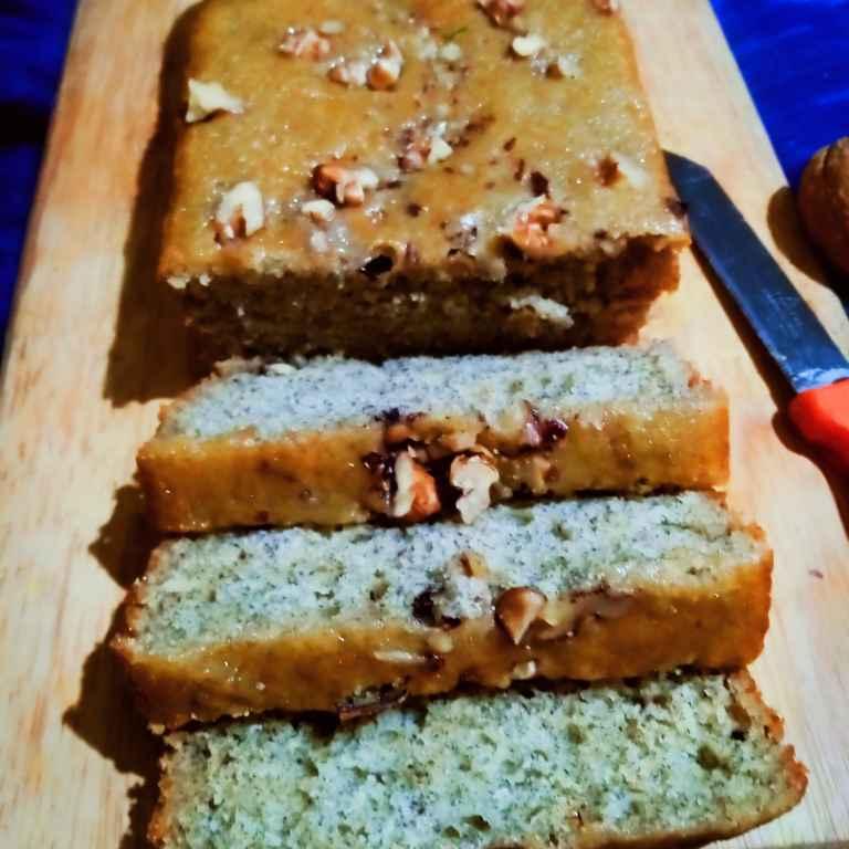 How to make गेहूं आटे से बना केला अखरोट केक ( banana walnuts cake)