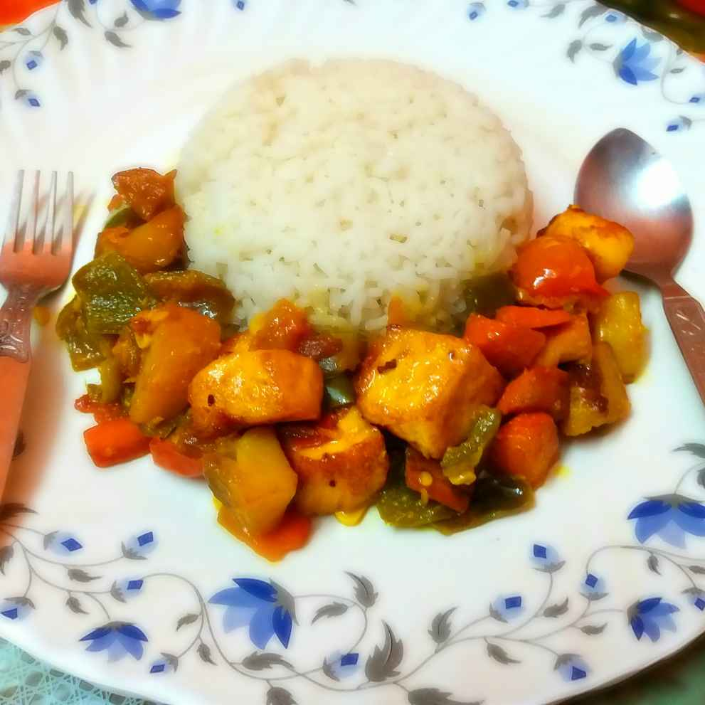 Photo of Paneer stir fried vegetables with rice by Piyasi Biswas Mondal at BetterButter