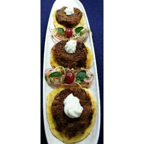 Photo of Rajma Galouti Kebab with Sheermal and Dhaba Salad. by Pooja Misra at BetterButter