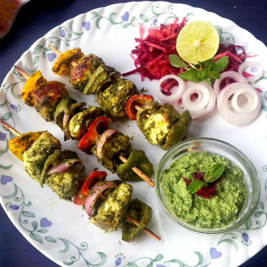 How to make Hara Bhara Paneer Tikka / Indian Cottage Cheese in Green Marinade