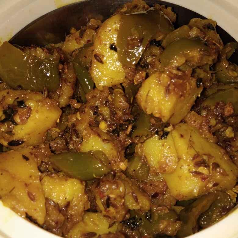 How to make # बिना प्याज और लहसुन के आलू शिमला मिर्च की चटपटी सब्जी