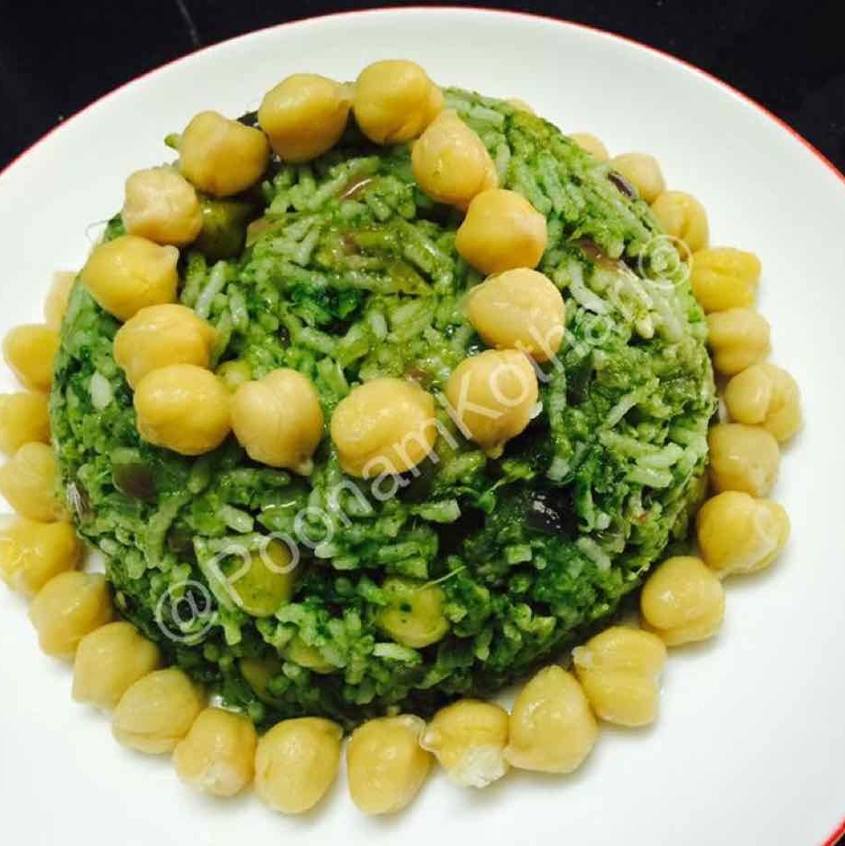 How to make Spinach Chickpeas Pulao