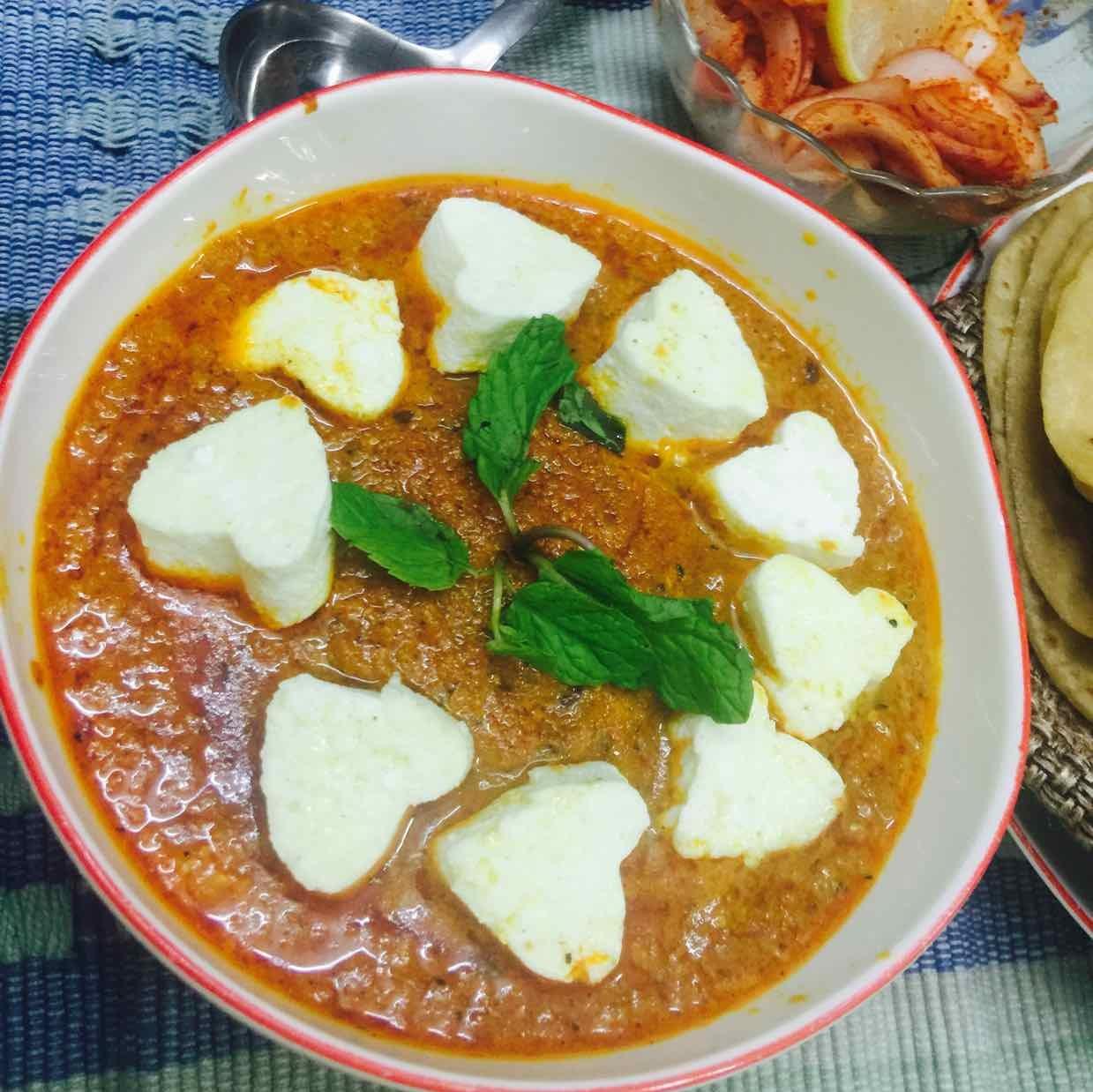 How to make paneer hearts in tikka masala gravy