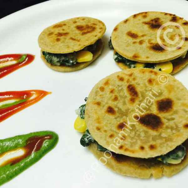 Photo of Palak corn sandwich parantha by Poonam Kothari at BetterButter