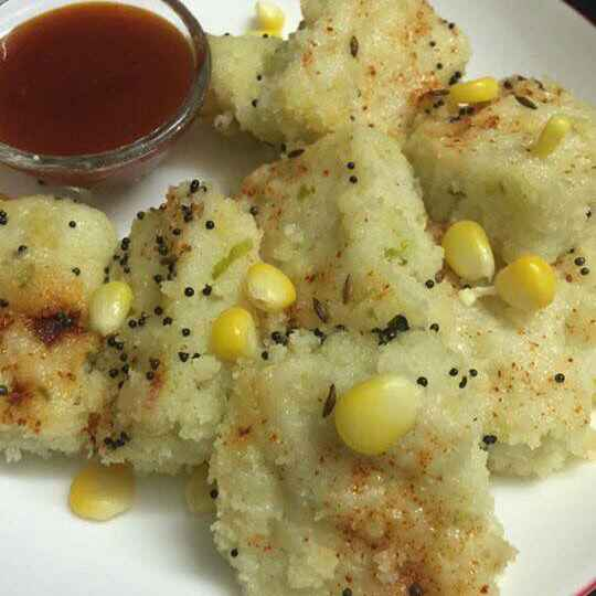 How to make Corn sooji dhokla