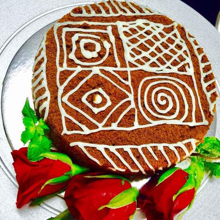 How to make मलाई केक मन्डाला डिज़ाइन के साथ