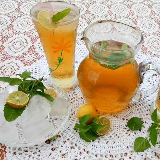 How to make Tulsi lemon ice tea