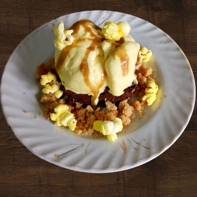 Photo of Popcorn Ice Cream with Chocolate Pave, Peanut Cookie Crumb and Salted Caramel Sauce by Prajakta Khanvilkar at BetterButter