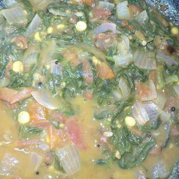 Photo of Malabar spinach tomato gravy curry by Pravallika Srinivas at BetterButter