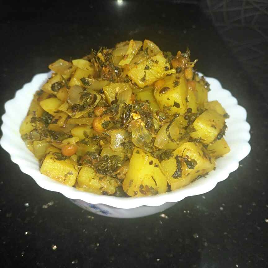 Photo of Fenugreek leaves Potatoes Curry by Pravallika Srinivas at BetterButter