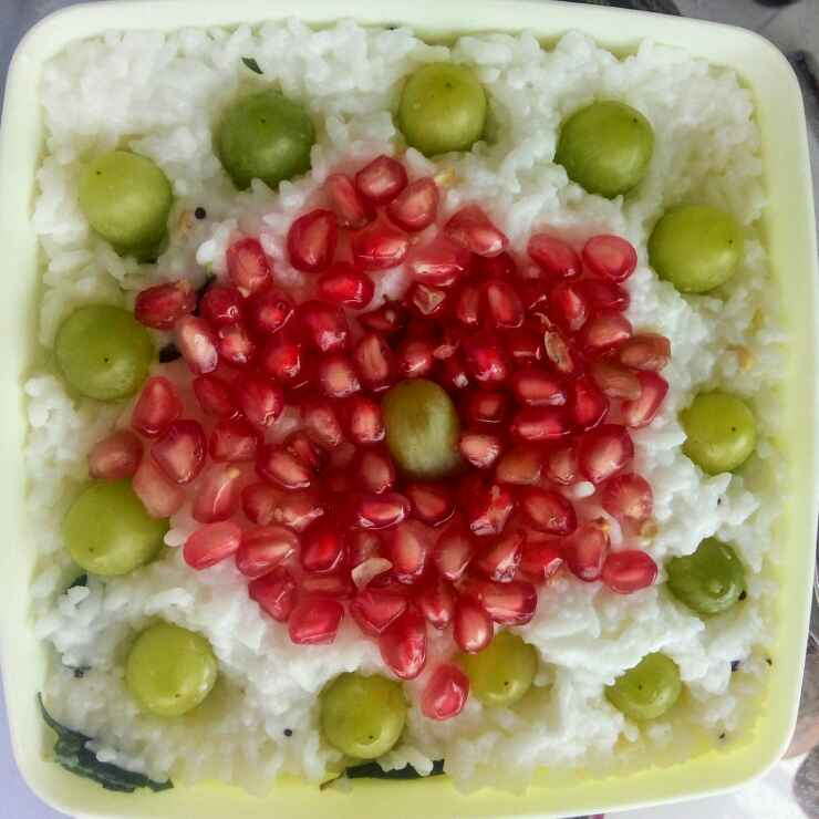 How to make Fruits mixed curd rice