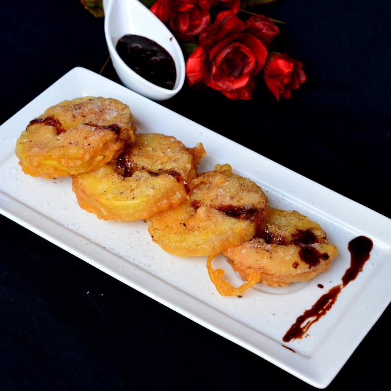 Photo of Apple Fritters with Chocolate Sauce by Preeti Garg at BetterButter