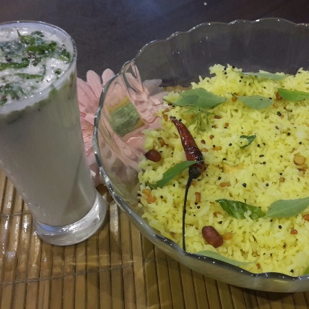 How to make Lemon Rice with Smoked Chaas
