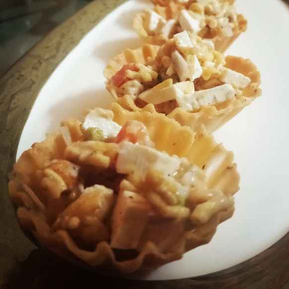 Photo of Cheesy Paneer Tart Chaat by Prerna Mohit Khurana at BetterButter