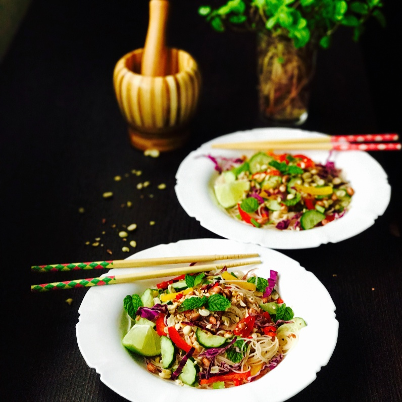 Photo of Asian inspired Rainbow Vermicelli Salad with Peanuts !! Microwave Cooking Contest by Priti Mohta at BetterButter