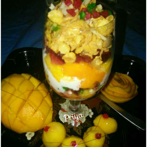 How to make Cornflakes and fruits smoothie