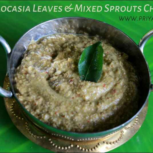 How to make Colocasia leaves - Sprouts Chutney