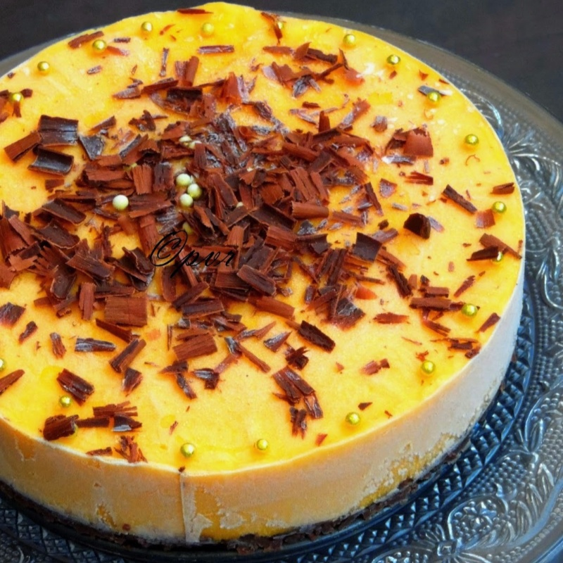 Photo of Eggless No Bake Frozen Mango Custard Cheesecake by Priya Suresh at BetterButter