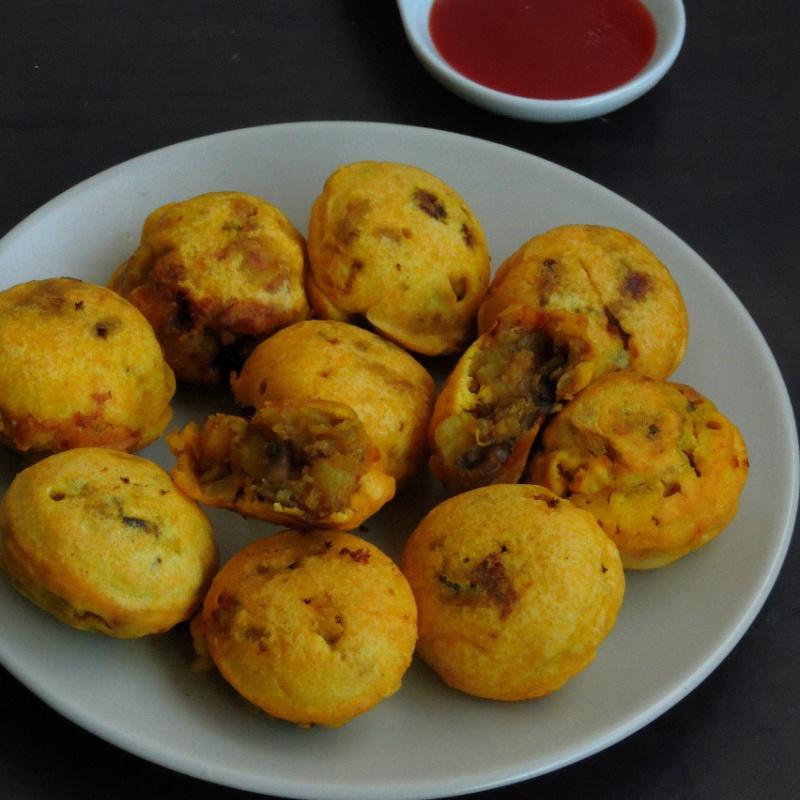 How to make Dhingri Batata Vada/Mushroom Potato Fritter in Appe Pan