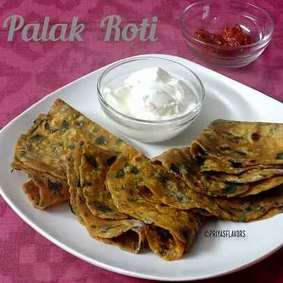 How to make Spinach Chapati/  Palak roti