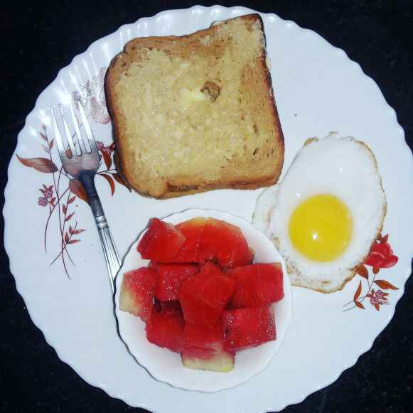 Photo of Bread butter,egg poach and fruits by Priyanka Nandi at BetterButter