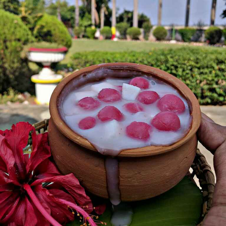 Photo of Hibiscus thai riceballs dunk in coconut milk by Pinky Srini at BetterButter