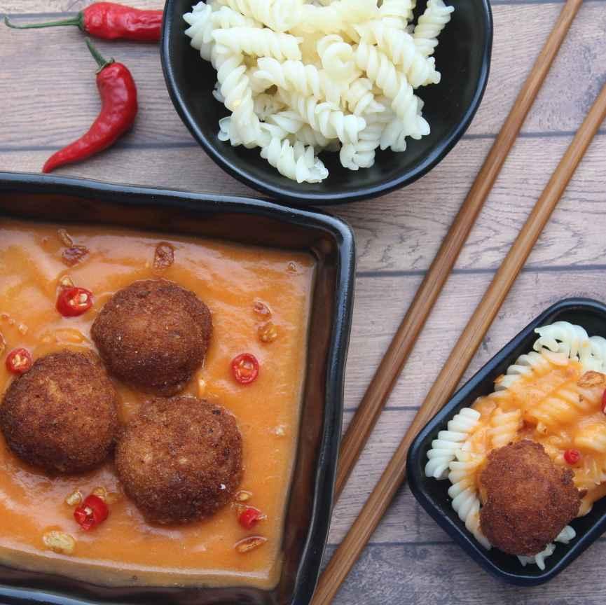 Photo of Mac and cheese kofta in burnt garlic sweet pumpkin sauce by Pinky Srini at BetterButter