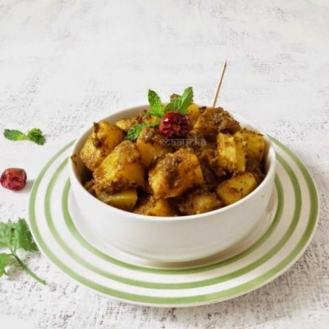 How to make Pudina Aloo/Minty Potato