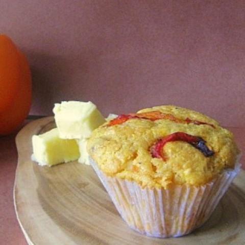 Photo of Cornmeal muffins with roasted peppers and feta by Ruchira Hoon at BetterButter