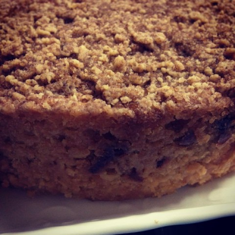 How to make Eggless Dates and Apple cake with streusel topping