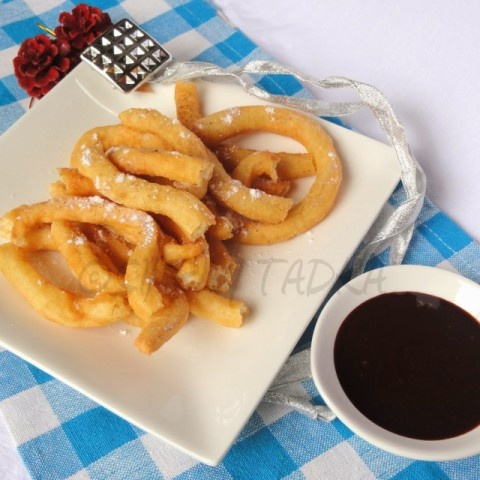 How to make Eggless Churros with Chocolate Sauce
