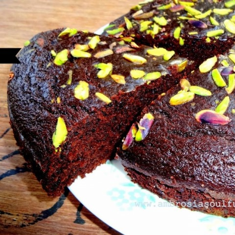 Photo of Eggless Olive Oil Dark Chocolate Whole Wheat Pistachio Cake by Namita Tiwari at BetterButter